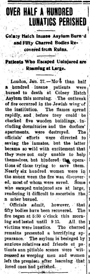 Newspaper clipping about the fire at Colney Hatch Lunatic Asylum