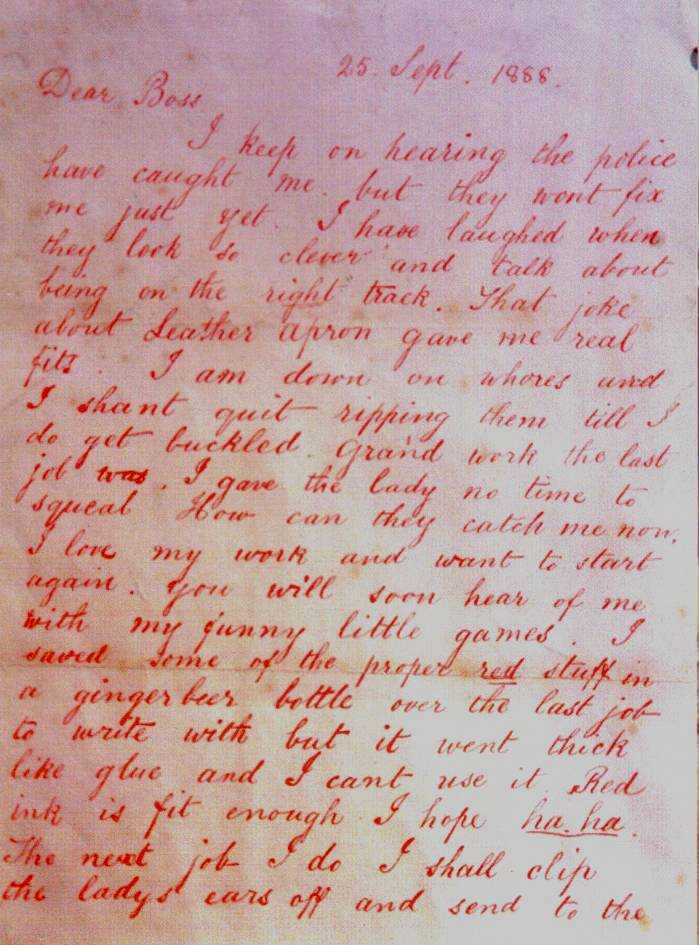 Casebook jack the ripper ripper letters first page of dear boss letter expocarfo Images