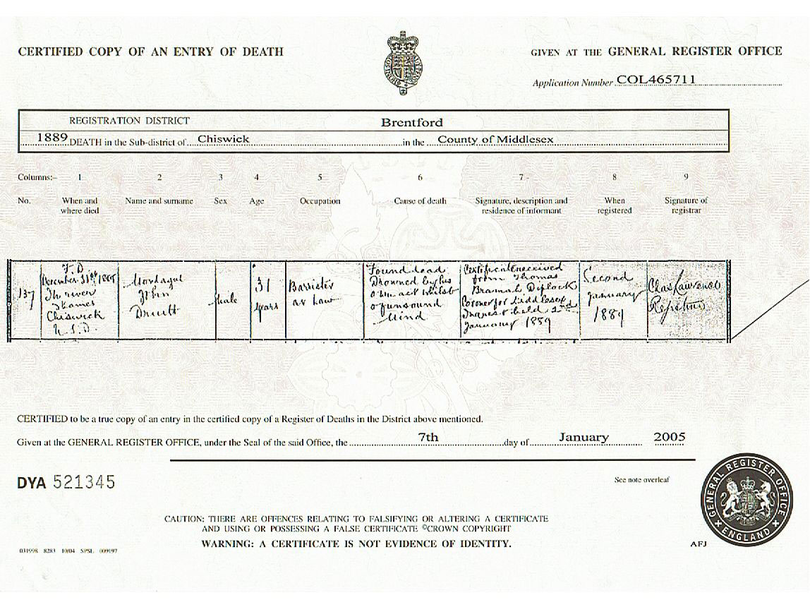 Casebook jack the ripper montague john druitt certified copy of death certificate for montague john druitt courtesy andrew spallek xflitez Gallery